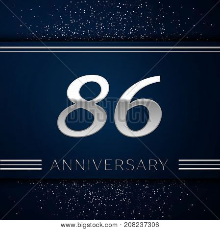 Realistic Eighty six Years Anniversary Celebration Logotype. Silver numbers and silver confetti on blue background. Colorful Vector template elements for your birthday party