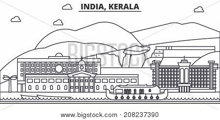 India, Kerala architecture line skyline illustration. Linear vector cityscape with famous landmarks, city sights, design icons. Editable strokes