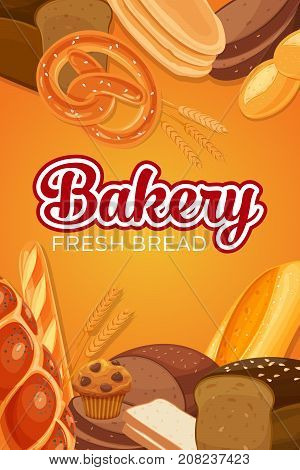Poster template with bread products. Rye bread and pretzel, muffin, pita, ciabatta , wheat and whole grain bread, toast bread, french baguette for design menu bakery.