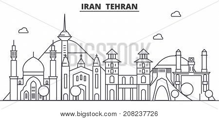 Iran, Tehran architecture line skyline illustration. Linear vector cityscape with famous landmarks, city sights, design icons. Editable strokes