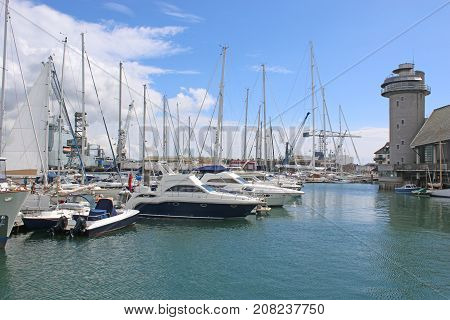 yachts moored in Falmouth harbour marina, Cornwall