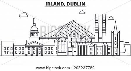 Irland, Dublin architecture line skyline illustration. Linear vector cityscape with famous landmarks, city sights, design icons. Editable strokes