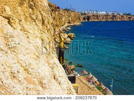 Sharm El Sheikh, Egypt - September 24, 2017: The view of luxury hotel Dreams Beach Resort Sharm 5 stars at Sharm El Sheikh, Egypt on September 24, 2017