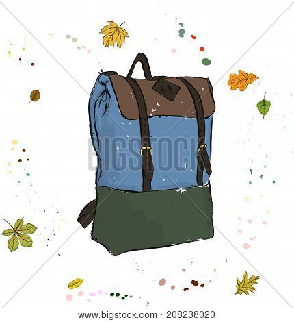 City Comfortable Spacious Backpack. Accessories On The Background Of Autumn Leaves And Drops Of Wate