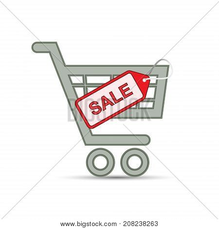 Shopping cart with sale label. Supermarket cart or trolley and sale tag. Discount concept. Vector isolated object.