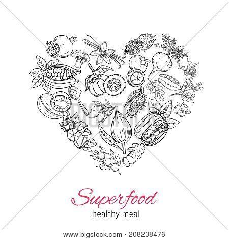 Vector hand drawnn superfood in the form heart poster. Healthy detox of camu camu, garcinia cambogia and maca. Carob, ginger, moringa, lucuma, coji berries, mangosteen, acai, guarana and noni.