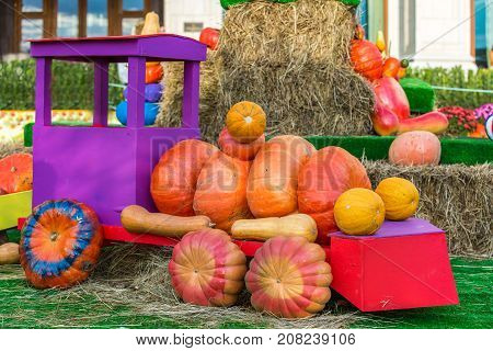 The figure of a children's locomotive assembled from pumpkins is located in the street around the sheaves of hay. Colorful autumn in Moscow city, Russia.