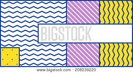Colorful trendy geometric horizontal pattern juxtaposed with bright bold blocks of color zig zags, squiggles, erratic images. Design background elements composition. Magazine, leaflet, banner