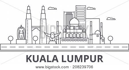 Kuala Lumpur Malaysia architecture line skyline illustration. Linear vector cityscape with famous landmarks, city sights, design icons. Editable strokes