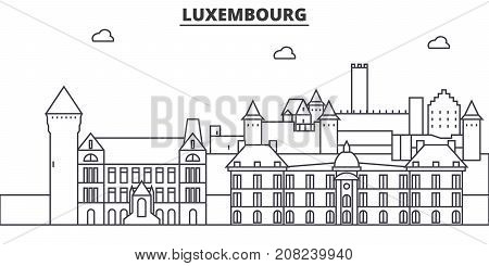 Luxembourg architecture line skyline illustration. Linear vector cityscape with famous landmarks, city sights, design icons. Editable strokes