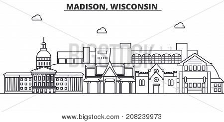 Madison, Wisconsin architecture line skyline illustration. Linear vector cityscape with famous landmarks, city sights, design icons. Editable strokes