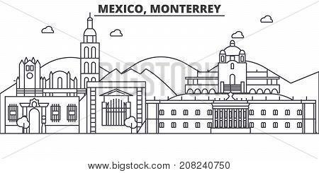 Mexico, Monterrey architecture line skyline illustration. Linear vector cityscape with famous landmarks, city sights, design icons. Editable strokes