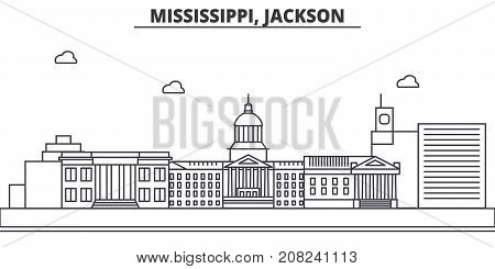 Mississippi, Jackson architecture line skyline illustration. Linear vector cityscape with famous landmarks, city sights, design icons. Editable strokes