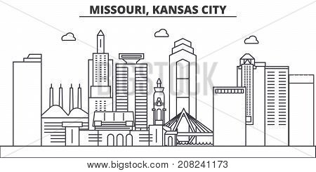 Missouri, Kansas City architecture line skyline illustration. Linear vector cityscape with famous landmarks, city sights, design icons. Editable strokes