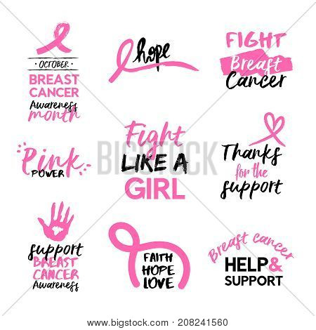 Breast Cancer Awareness Pink Hand Drawn Quote Set
