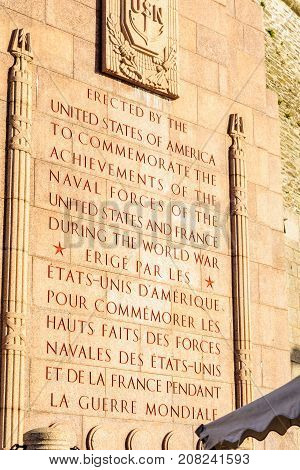 The World War I Us Naval Monument, In Brest