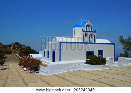 A small white church on the island of Santorini in the Aegean Sea