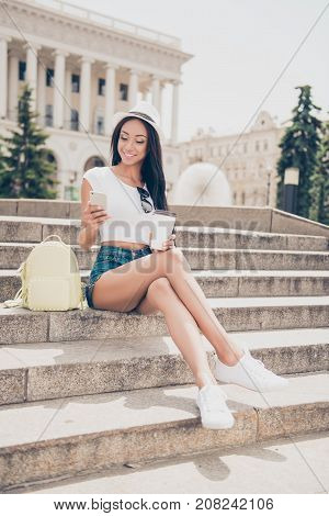 Attractive Carefree Gorgeous Mixed-race Lady With Bronze Skin Is On Stroll, In Jeans Short Shorts, S