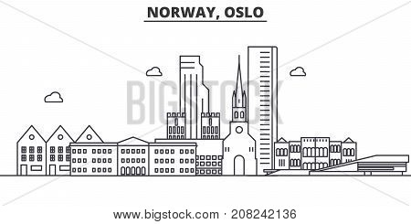 Norway, Oslo architecture line skyline illustration. Linear vector cityscape with famous landmarks, city sights, design icons. Editable strokes