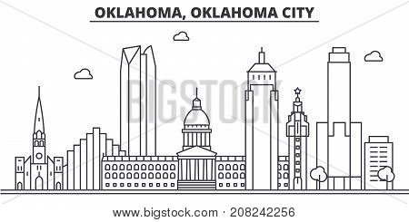 Oklahoma, Oklahoma City architecture line skyline illustration. Linear vector cityscape with famous landmarks, city sights, design icons. Editable strokes