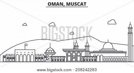 Oman, Muscat architecture line skyline illustration. Linear vector cityscape with famous landmarks, city sights, design icons. Editable strokes