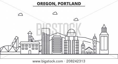Oregon, Portland architecture line skyline illustration. Linear vector cityscape with famous landmarks, city sights, design icons. Editable strokes