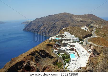 Sunny summer day on the fabulous island of Santorini in the Aegean Sea
