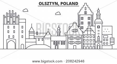 Poland, Olsztyn architecture line skyline illustration. Linear vector cityscape with famous landmarks, city sights, design icons. Editable strokes