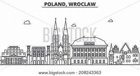 Poland, Wroclaw architecture line skyline illustration. Linear vector cityscape with famous landmarks, city sights, design icons. Editable strokes
