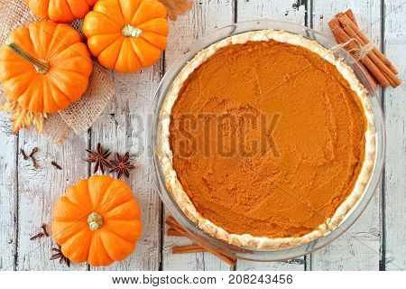 Autumn Pumpkin Pie, Overhead Table Scene On A Rustic White Wood Background