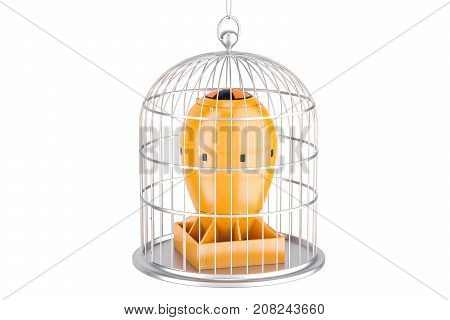 Bird cage with nuclear bomb. Nuclear weapons prohibition concept 3D rendering isolated on white background