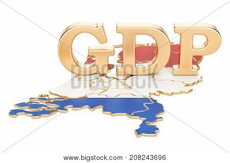 gross domestic product GDP of Netherlands concept 3D rendering isolated on white background