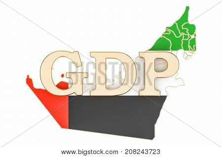 gross domestic product GDP of UAE concept 3D rendering isolated on white background