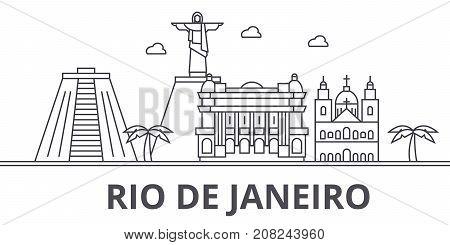 Rio De Janeiro architecture line skyline illustration. Linear vector cityscape with famous landmarks, city sights, design icons. Editable strokes