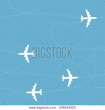Cartoon airplane routes. Airplane path seamless pattern, background, vector seamless texture