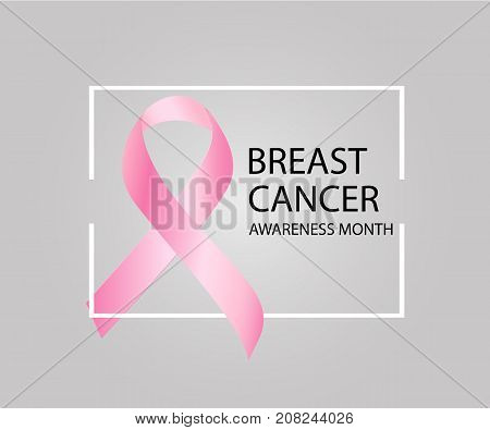 Breast Cancer Awareness Month. Realistic Pink Ribbon, Breast Cancer Awareness Symbol. Vector Illustr