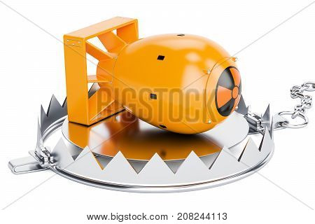 Trap with nuclear bomb 3D rendering isolated on white background
