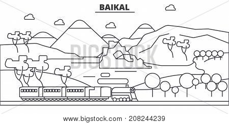 Russia, Baikal architecture line skyline illustration. Linear vector cityscape with famous landmarks, city sights, design icons. Editable strokes