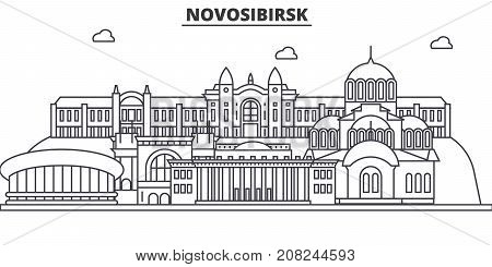 Russia, Novosibirsk architecture line skyline illustration. Linear vector cityscape with famous landmarks, city sights, design icons. Editable strokes