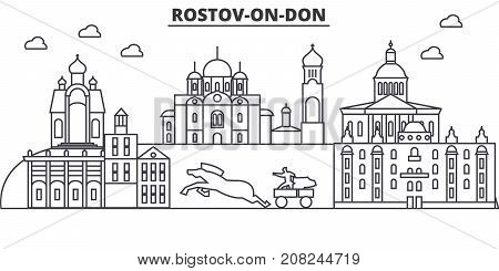 Russia, Rostov On Don architecture line skyline illustration. Linear vector cityscape with famous landmarks, city sights, design icons. Editable strokes