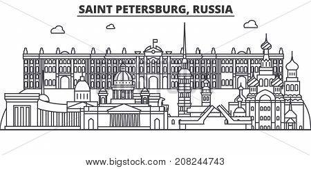 Russia, Saint Petersburg architecture line skyline illustration. Linear vector cityscape with famous landmarks, city sights, design icons. Editable strokes