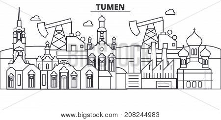 Russia, Tumen architecture line skyline illustration. Linear vector cityscape with famous landmarks, city sights, design icons. Editable strokes