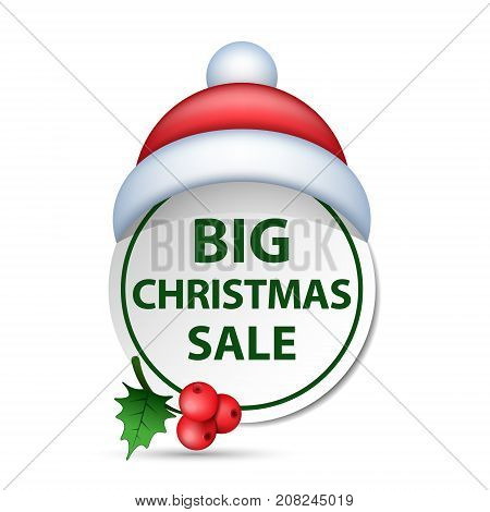 Christmas big sale badge label with santa hat vector isolated illustration.