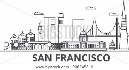 San Francisco architecture line skyline illustration. Linear vector cityscape with famous landmarks, city sights, design icons. Editable strokes