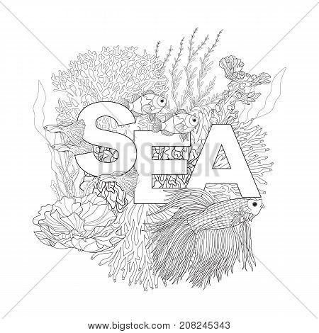 Coral reef with corals and fish and word sea. Coloring book for adult and older children. Outline drawing coloring page. Vector illustration. With space for text