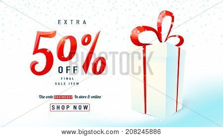 Boxing day sale background. Gift box on light backdrop. Extra 50 percent off final sell-out item. Holiday design concept. Vector illustration