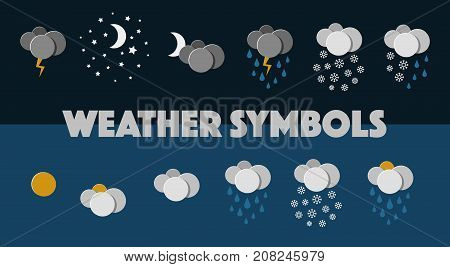 Set of 12 Weather Symbols. Night and Day