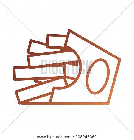fast food french fries in box takeaway vector illustration