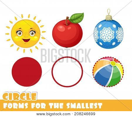 Forms For The Smallest. Circle And Objects Having A Circle Shape On A White Background Developing Ga