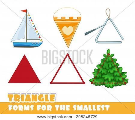 Forms For The Smallest. Triangle And Objects Having A Triangular Shape On A White Background Develop